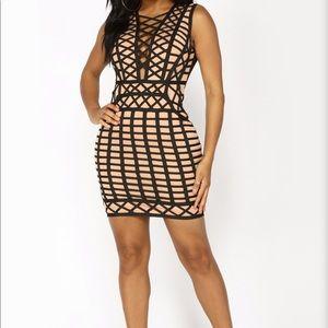 NWT BLK/ NUDE FASHION NOVE CAGE BANDAGE DRESS XL